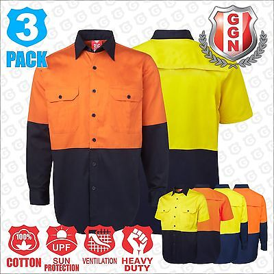 3x HI VIS SHIRTS SAFETY COTTON DRILL WORK WEAR ARM BACK VENTS LONG SHORT SLEEVE