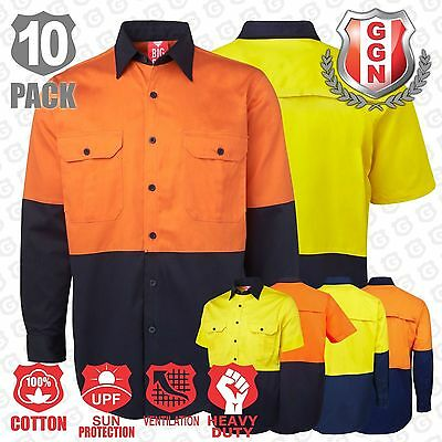 10x HI VIS SHIRTS SAFETY COTTON DRILL WORKWEAR ARM BACK VENTS LONG SHORT Sleeve