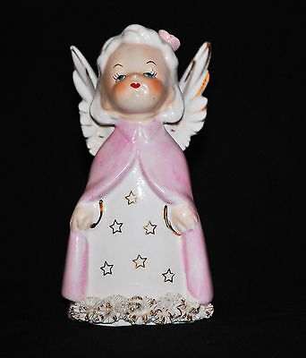 Antique Angel with Pink Cape Looking up Made in Japan