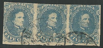 "CSA Scott #4 Stone 3 Pos 1-3 Used Strip of 3 Confederate Stamps Leaking ""N"""