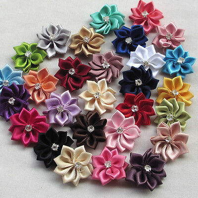 10pcs Mix Satin Ribbon Flowers Bows w/ Rhinestone Appliques Craft Wedding Upick