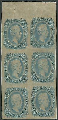 CSA Scott #11 (AD) Mint OG Hinged Block of 6 Confederate Stamps VF Upper Sheet