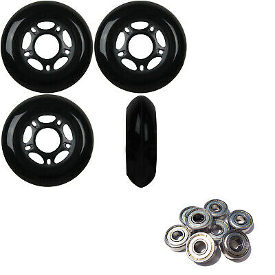 OUTDOOR Inline Skate Wheels 72MM 89a BLACK x4 W/ ABEC 5 BEARINGS