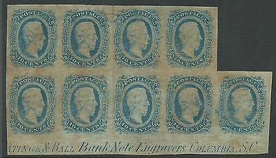 CSA Scott #11 (KB) Mint Staggered Block of 9 Confederate Stamps Most of Imprint
