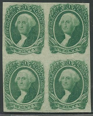CSA Scott #13b Mint OG Block of 4 Confederate Stamps VF