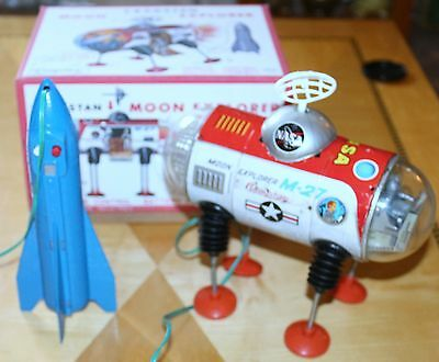 1960'S CRAGSTAN YONEZAWA M-27 MOON EXPLORER BATTERY OPERATED WITH REPRO BOX