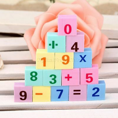 15Pcs Mathematical Numbers Style Rubber Pencil Eraser Stationery Educational Toy