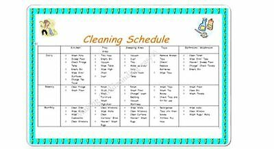 Childminder/ Teacher *CLEANING SCHEDULE A4 POSTER* readymade EYFS childminding