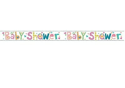 9ft Baby Shower Banner Foil Unisex Boy Girl Party Decoration Holographic