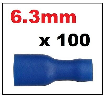 100x Blue Female Electrical Spade Crimp Connector Terminal Fully Insulated 6.3mm