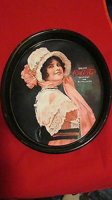 Coca-Cola Metal Tin Tray Drink Betty Girl Oval Serving Delicious and Refreshing