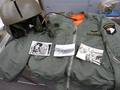 HELICOPTER CREW CHIEF'S L-2B JACKET - SHP-4 FLYING HELMET & 3 PHOTOS #EQ339