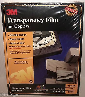 "3M PP2500 Transparency Film For Copiers  8 1/2"" x 11"" (100 SHEETS) NEW & SEALED"
