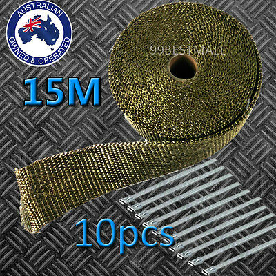 2000F TITANIUM EXHAUST HEAT WRAP 50 MM X 15 M + 10 STAINLESS STEEL TIES AU Local