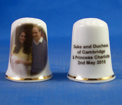 Birchcroft China Thimble - William And Kate With Princess Charlotte