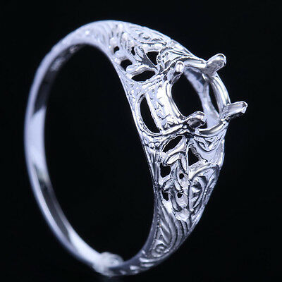 New Solitaire Semi-Mount Silver 925 Round 6mm Engagement Jewelry Wedding Ring