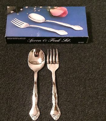 Silverplate Baby Spoon & Fork Set - unmarked- New in Box