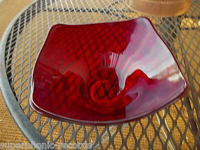 RUBY RED CANDY DISH MID-CENTURY MODERN ART GLASS