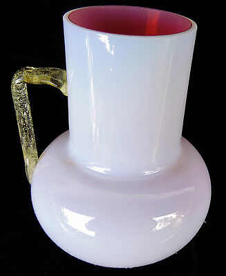 Opal Cranberry Art Glass Pitcher/Vase Amber Handle Antique 1880's