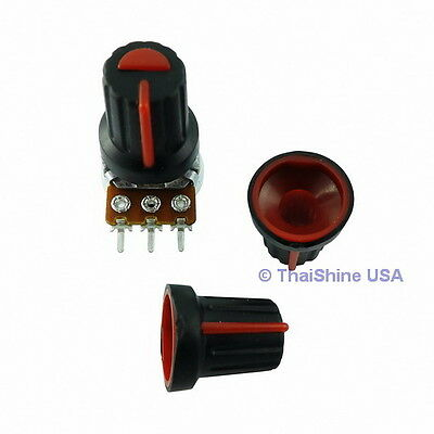 5 x Black Knob with Red Pointer - Soft Touch - USA SELLER - Free Shipping