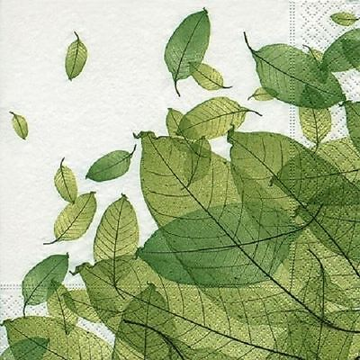 4 x Paper Napkins - Leaves - Ideal for Decoupage / Decopatch