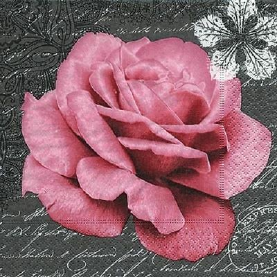 4 x Paper Napkins - Rose - Ideal for Decoupage / Decopatch