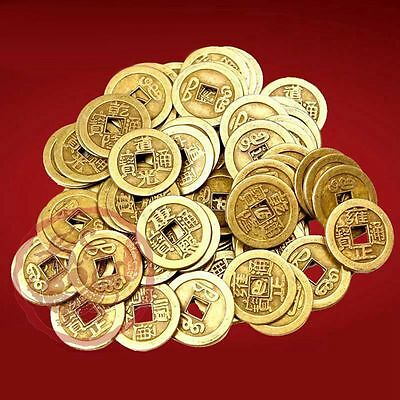 50PCS Feng Shui Chinese Ching Dynasties Emperors Old Lucky Coins For Fortune