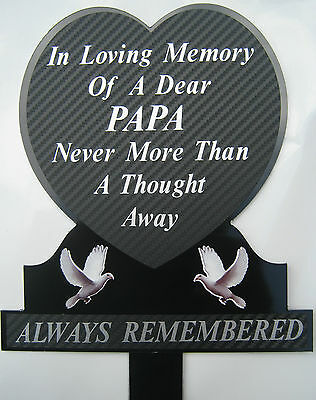 Memorial Plaque Grave Heart Personalised PAPA In Loving Memory Grave Remembrance
