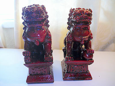 Pair Red Chinese Feng Shui Foo / Fu Lion Dogs Temple, Guardian Lions
