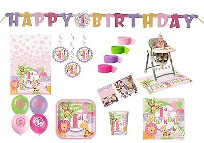 1St First Birthday Girl Party Tableware Decorations Balloons Pink Safari Jungle