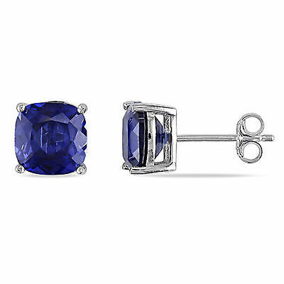 Amour Sterling Silver 6 Ct Created Blue Sapphire Stud Earrings