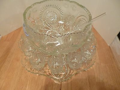 Beautiful Vintage Indiana Glass Saratoga Punch Bowl, Torte Plate & 12 Cups