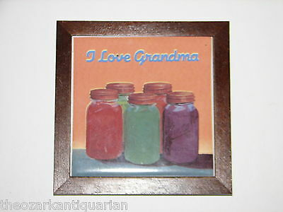 "Ball Mason Jar purple red vintage ""I Love Grandma"" trivet kitchen plaque tile"