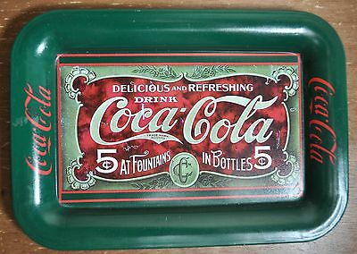 Vintage Coke Brand Coca-Cola Small Tray Issued in 1989 Green and Red