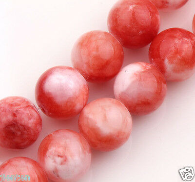 20Pcs Red White Natural Stone Gemstone Round Spacer Beads Charm Jewelry DIY 8mm
