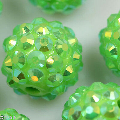 Retro 10Pc Grass Green Acrylic Spacer Round Loose Ball Charms DIY Beads Jewelry