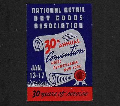 Vintage Advertising foil Poster Stamp 30th Convention NRDCA Hotel Pennsylvania N