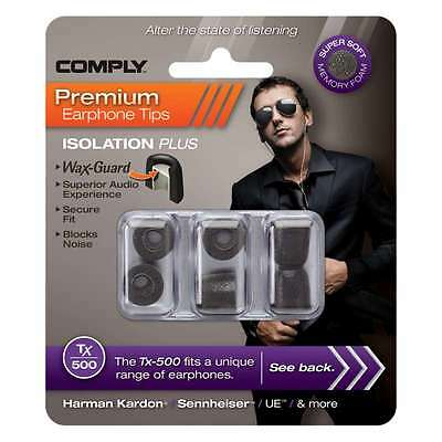 Comply Foam Ear Tips Isolation Plus Tx-500 Black - 3 Pairs