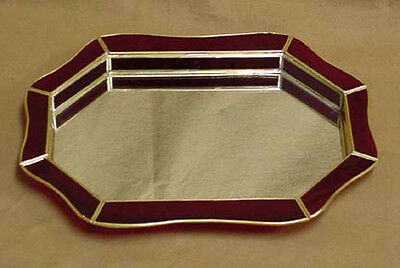 RED Stained Glass Brass Vanity TRAY and mirrored display