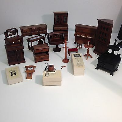 Vintage Early Americana Doll House Furnature lot 16 pieces including accessories