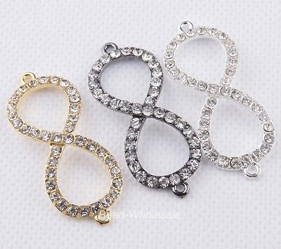 3xMixed ved Side Ways zinc alloy Crystal Rhinestones Infinity Bracelet Connector