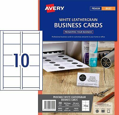 MATT LEATHERGRAIN Avery Business Card Inkjet IJ39 10/Sheet 20 Sheets 70450^