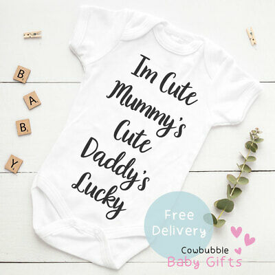 I'm Cute Mummy's Cute Funny Baby Vest Grow  Bodysuit Personalised Baby gift