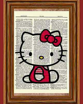 Hello Kitty Dictionary Art Print Poster Picture Japanese Anime Cute Cat Gift