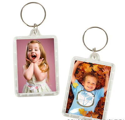 24 Photo Frame Keychains Key Chain Clear Transparent Insert Pictures-Fast Ship!
