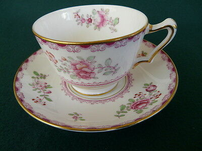 Crown Staffordshire Fine Bone China Tea Cup and Saucer, England, Floral Design