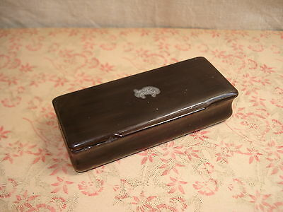 TABATIERE  ancienne en CORNE Brune  -  SNUFF BOX