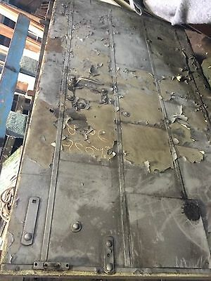 Boiler Room Fire Door Steel Riveted Iron Hardware Industrial Loft Salvage