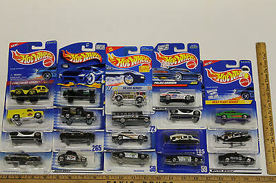 Vintage Hot Wheels Police Fire Rescue Lot 19 Diecast Metal Cars 1990 - 2000 NOC