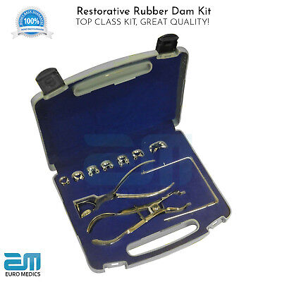 Set of 10 Dental Restorative Rubber Dam Kit Ainsworth Ivory Dam Frame S Steel CE